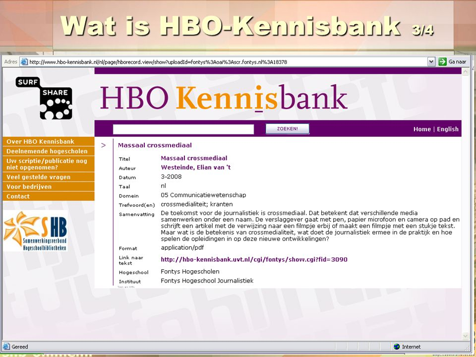 Wat is HBO-Kennisbank 3/4