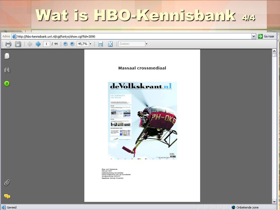 Wat is HBO-Kennisbank 4/4