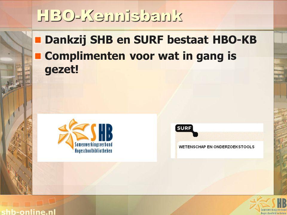 HBO-Kennisbank Dankzij SHB en SURF bestaat HBO-KB