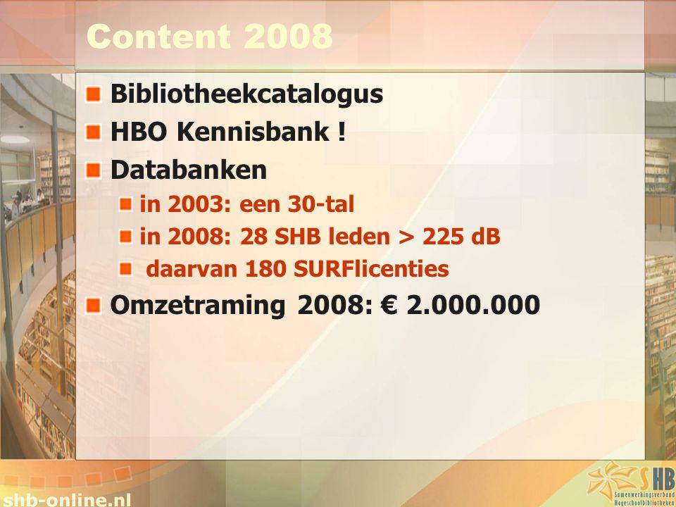 Content 2008 Bibliotheekcatalogus HBO Kennisbank ! Databanken