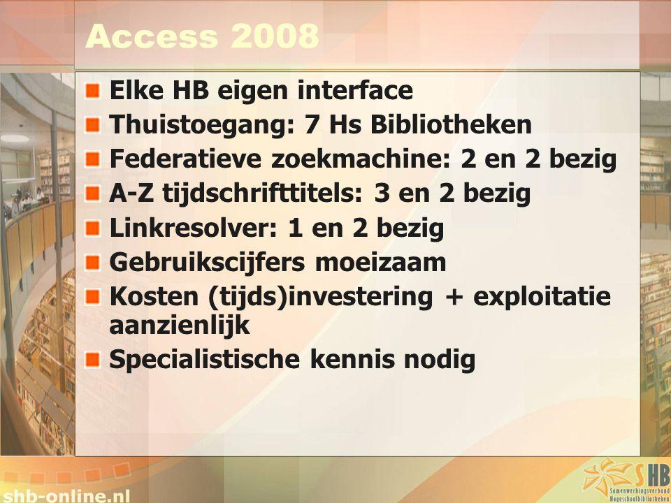 Access 2008 Elke HB eigen interface Thuistoegang: 7 Hs Bibliotheken