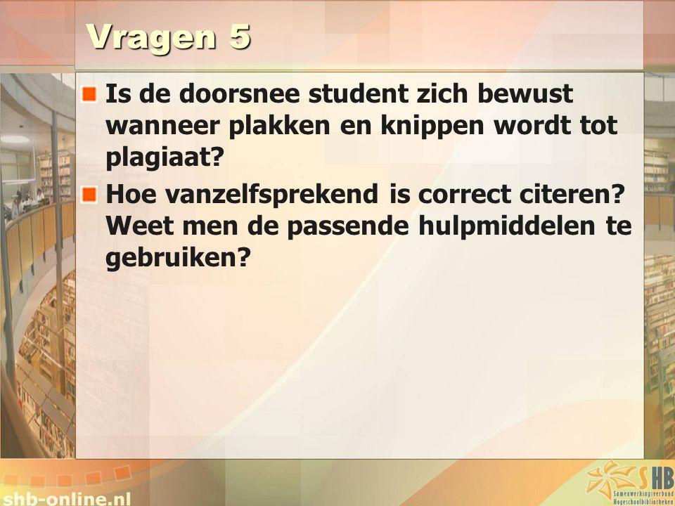 Vragen 5 Is de doorsnee student zich bewust wanneer plakken en knippen wordt tot plagiaat