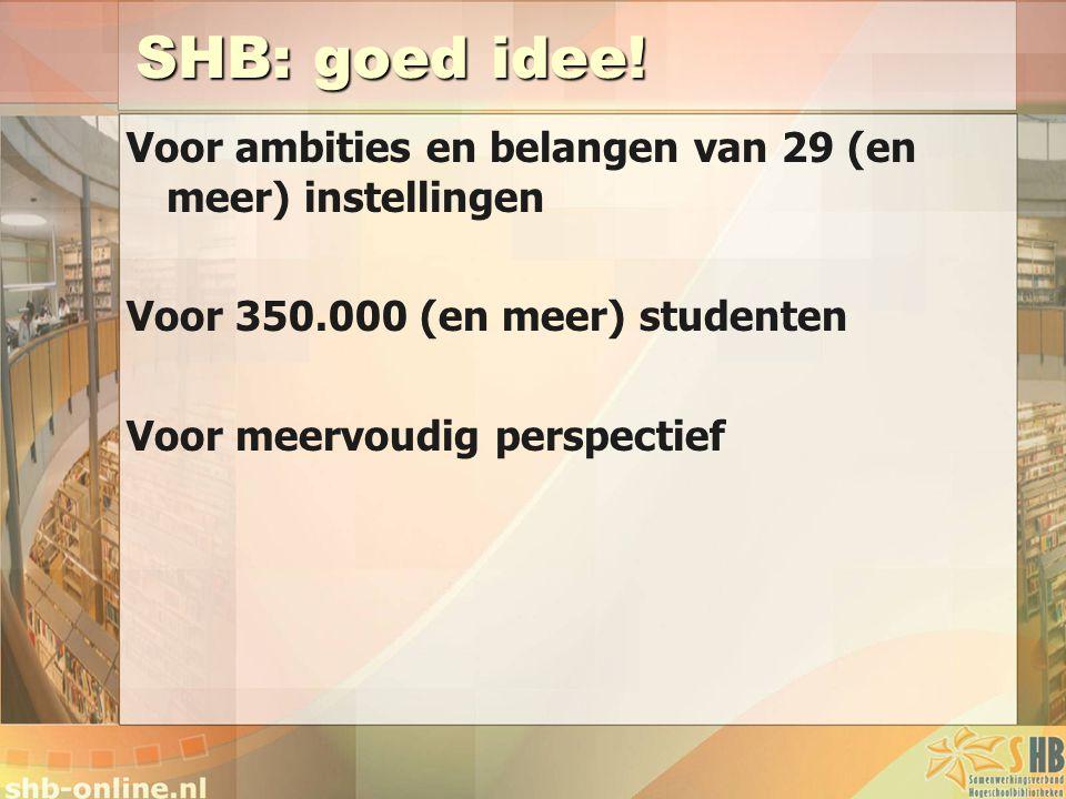 SHB: goed idee! Voor ambities en belangen van 29 (en meer) instellingen. Voor 350.000 (en meer) studenten.