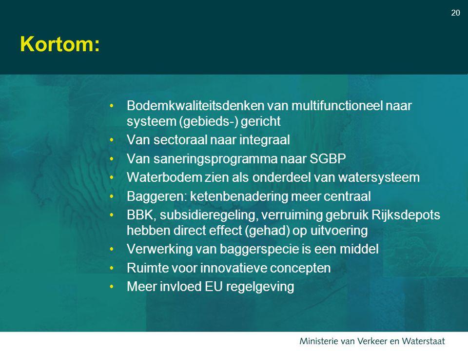 Kortom: Bodemkwaliteitsdenken van multifunctioneel naar systeem (gebieds-) gericht. Van sectoraal naar integraal.