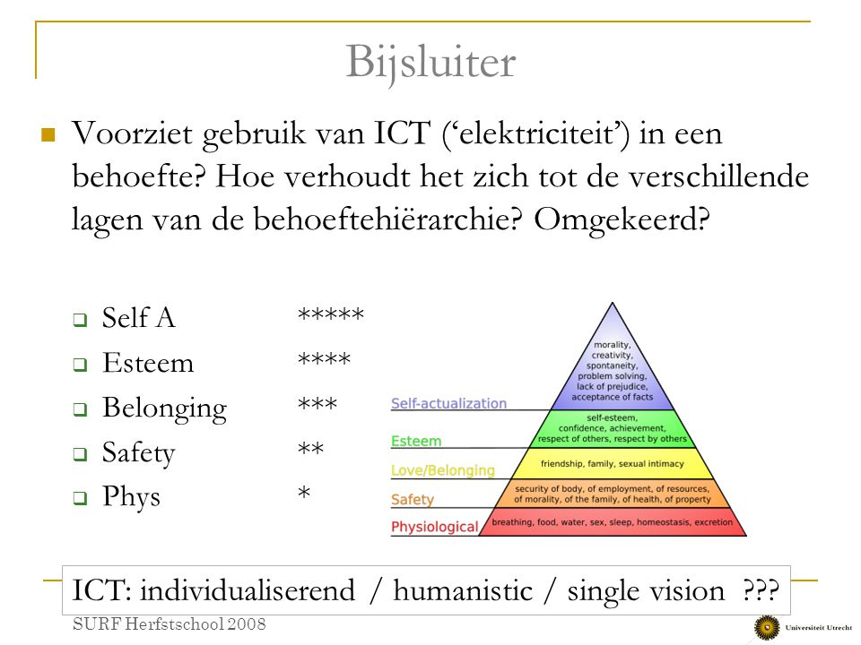 ICT: individualiserend / humanistic / single vision