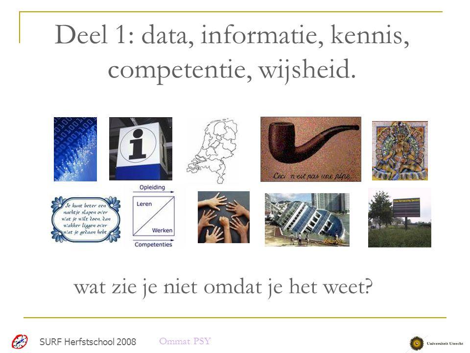 Deel 1: data, informatie, kennis, competentie, wijsheid.