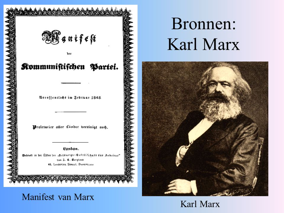Bronnen: Karl Marx Manifest van Marx Karl Marx