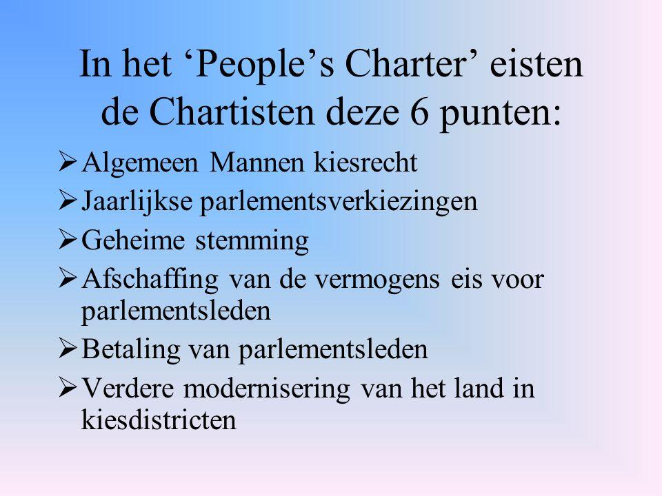 In het 'People's Charter' eisten de Chartisten deze 6 punten: