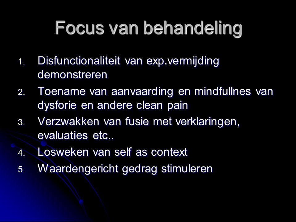 Focus van behandeling Disfunctionaliteit van exp.vermijding demonstreren. Toename van aanvaarding en mindfullnes van dysforie en andere clean pain.