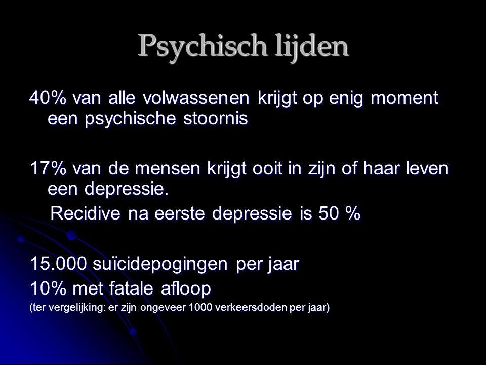 Psychisch lijden 40% van alle volwassenen krijgt op enig moment een psychische stoornis.