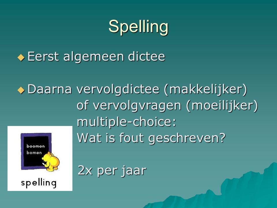 Spelling Eerst algemeen dictee Daarna vervolgdictee (makkelijker)