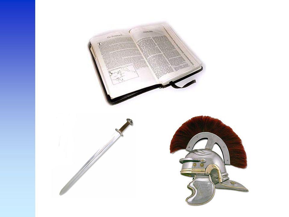 Efezen 6 : 17 zegt Draag als de helm de verlossing en als zwaard de Geest dat wil zeggen Gods woorden.