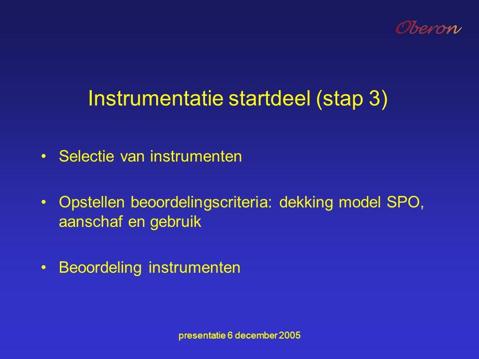 Instrumentatie startdeel (stap 3)