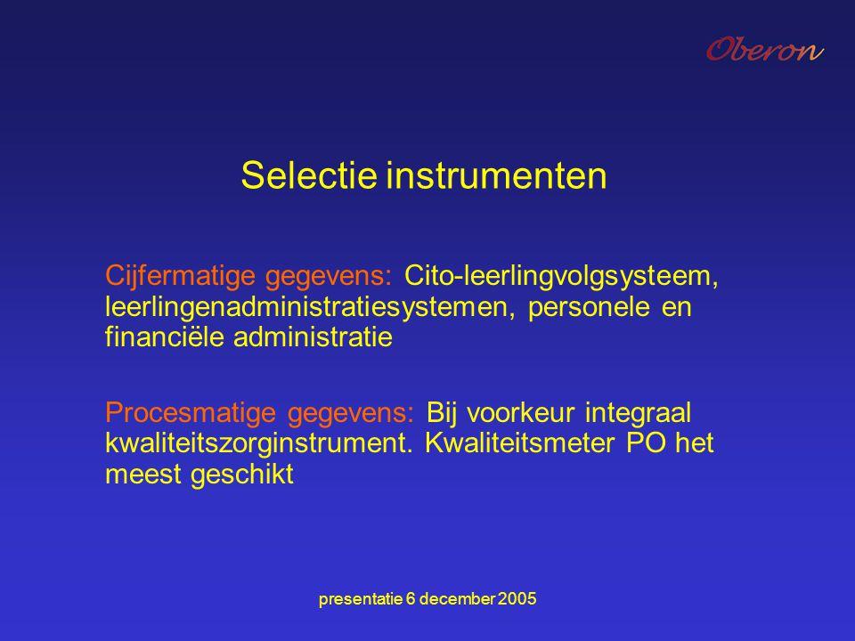 Selectie instrumenten