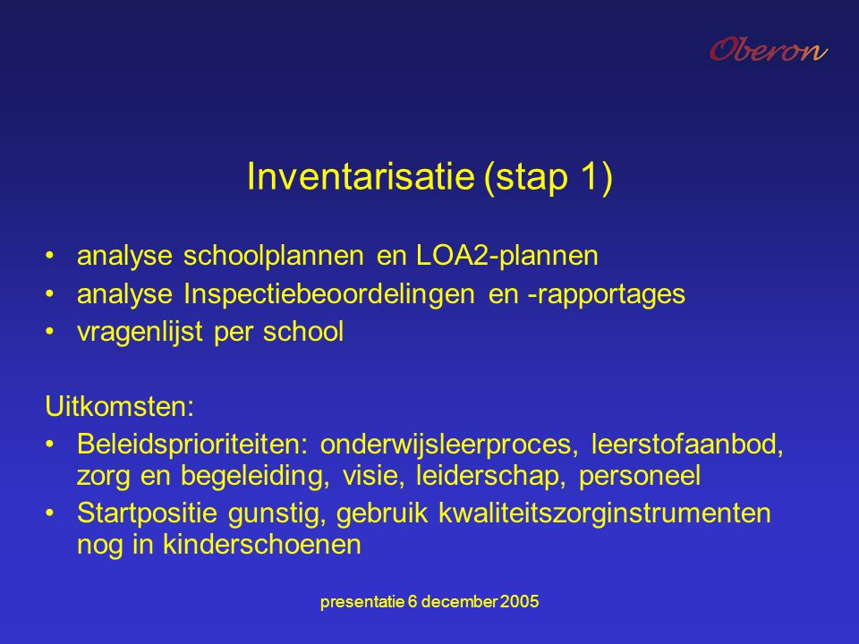 Inventarisatie (stap 1)