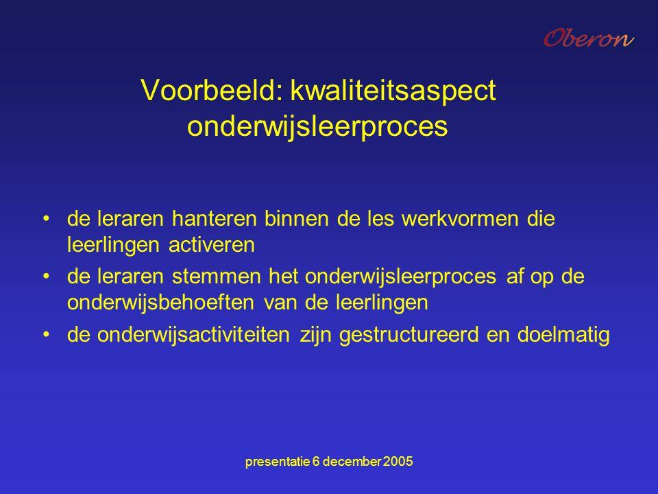 Voorbeeld: kwaliteitsaspect onderwijsleerproces