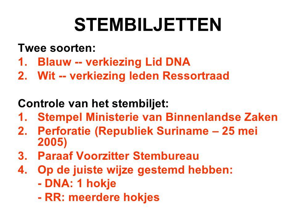 STEMBILJETTEN Twee soorten: Blauw -- verkiezing Lid DNA