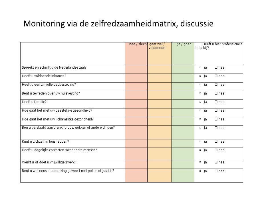 Monitoring via de zelfredzaamheidmatrix, discussie