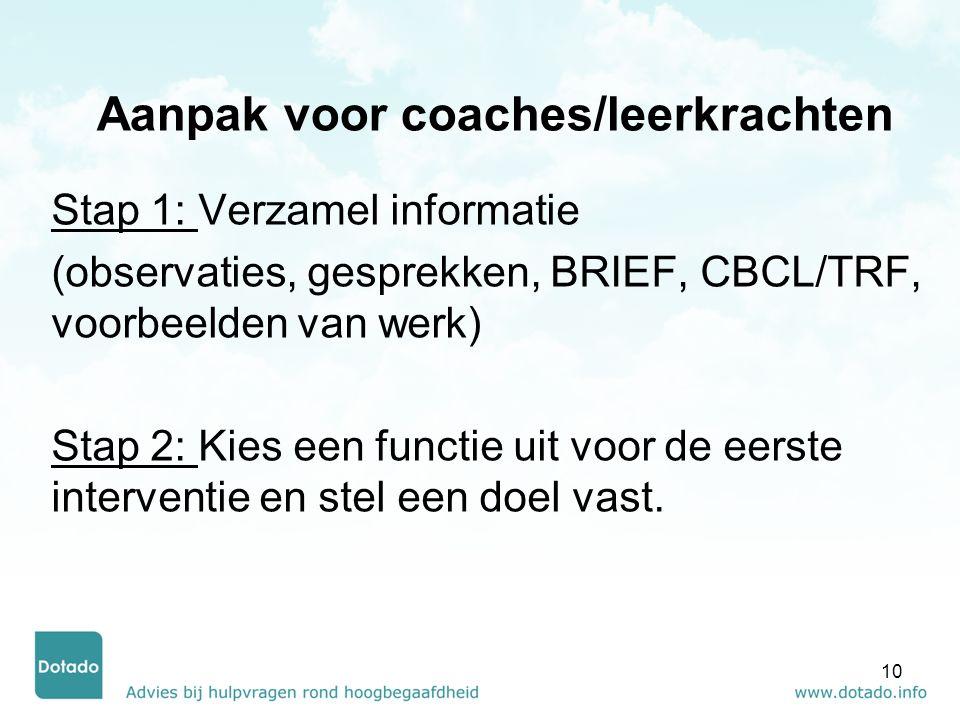 Aanpak voor coaches/leerkrachten