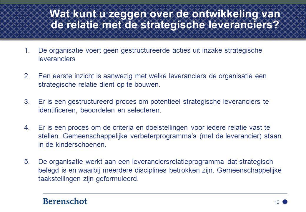 Wat kunt u zeggen over de ontwikkeling van de relatie met de strategische leveranciers