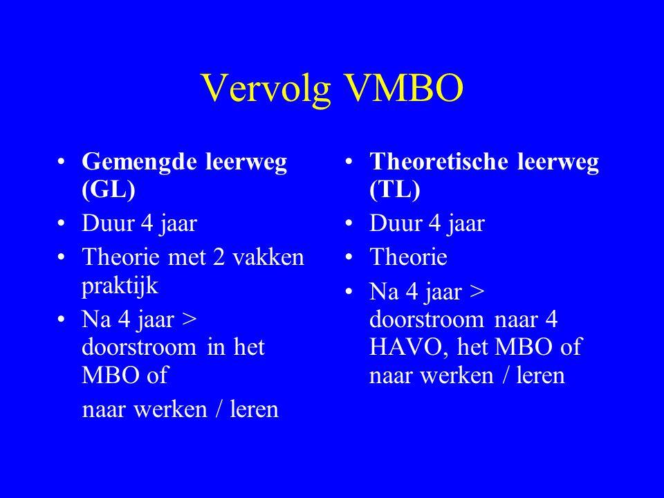 Vervolg VMBO Gemengde leerweg (GL) Duur 4 jaar