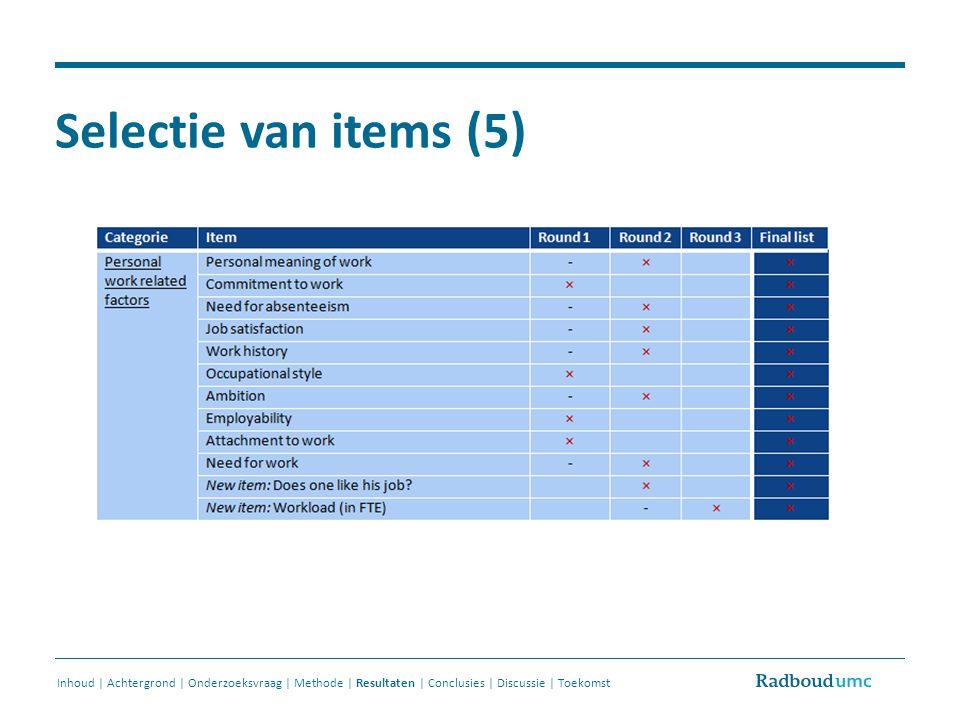 Selectie van items (5) Inhoud | Achtergrond | Onderzoeksvraag | Methode | Resultaten | Conclusies | Discussie | Toekomst.