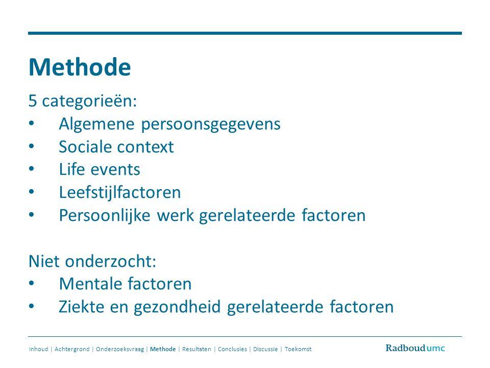 Methode 5 categorieën: Algemene persoonsgegevens Sociale context