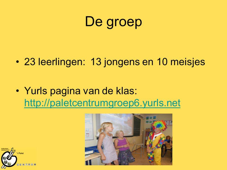 De groep 23 leerlingen: 13 jongens en 10 meisjes