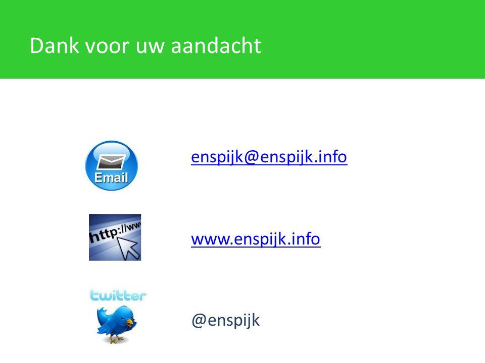 Dank voor uw aandacht enspijk@enspijk.info www.enspijk.info @enspijk