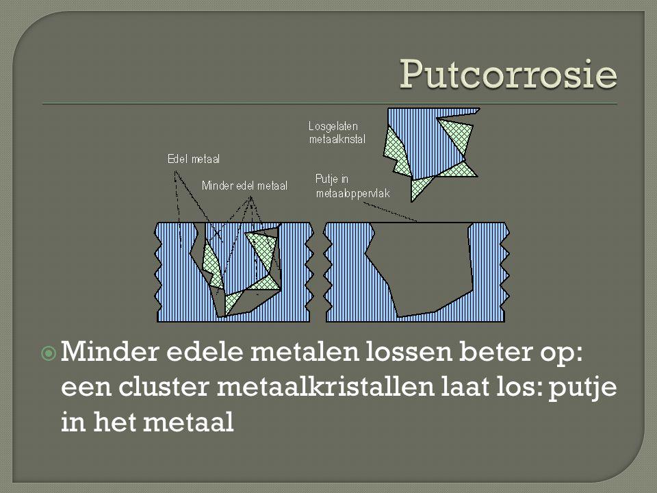 Putcorrosie Minder edele metalen lossen beter op: een cluster metaalkristallen laat los: putje in het metaal.