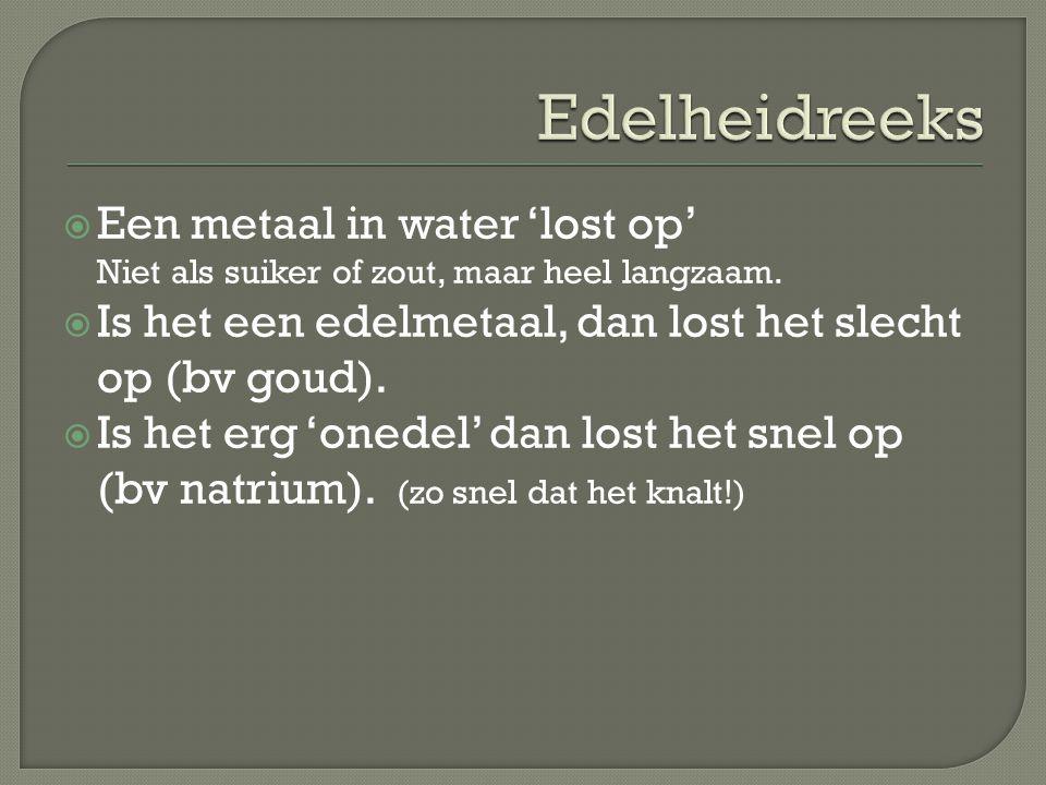 Edelheidreeks Een metaal in water 'lost op' Niet als suiker of zout, maar heel langzaam. Is het een edelmetaal, dan lost het slecht op (bv goud).