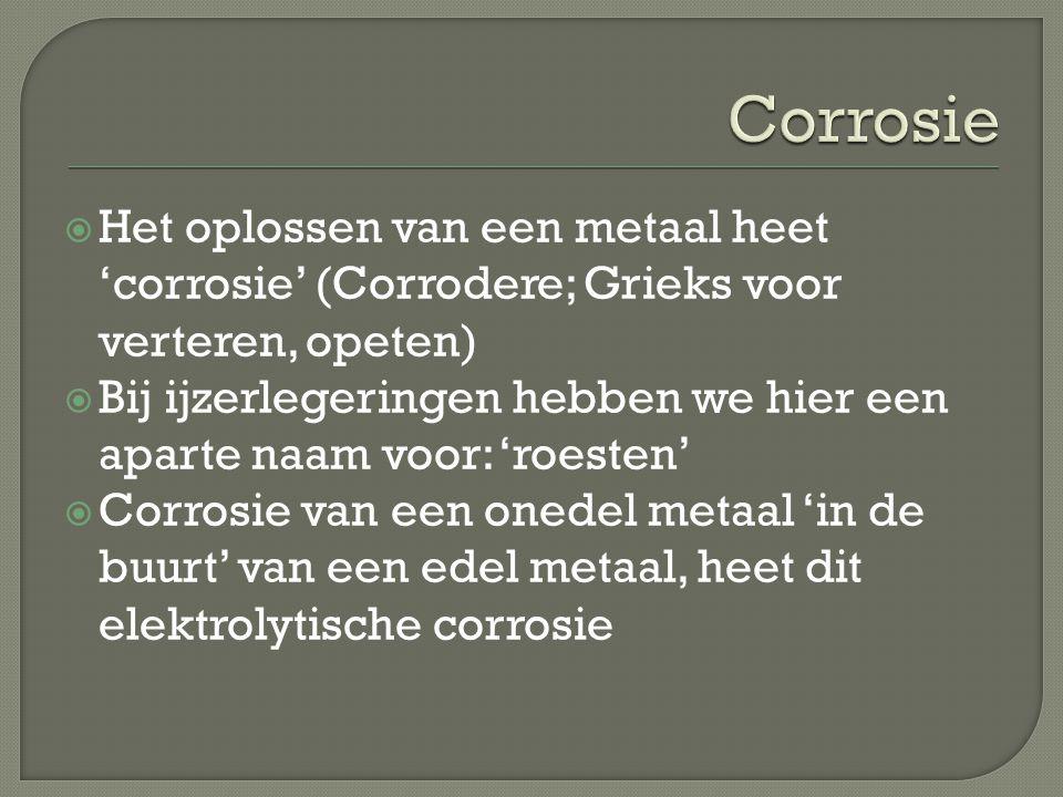 Corrosie Het oplossen van een metaal heet 'corrosie' (Corrodere; Grieks voor verteren, opeten)