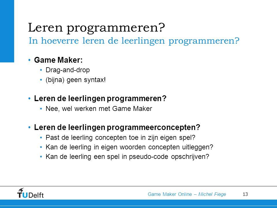 Leren programmeren In hoeverre leren de leerlingen programmeren
