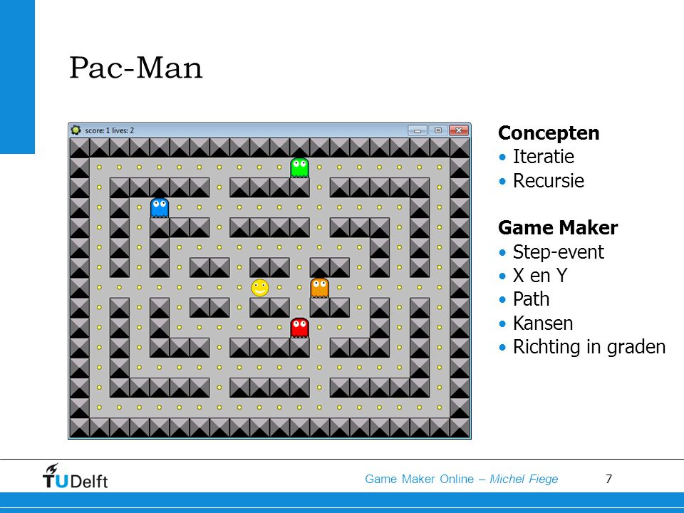 Pac-Man Concepten Iteratie Recursie Game Maker Step-event X en Y Path
