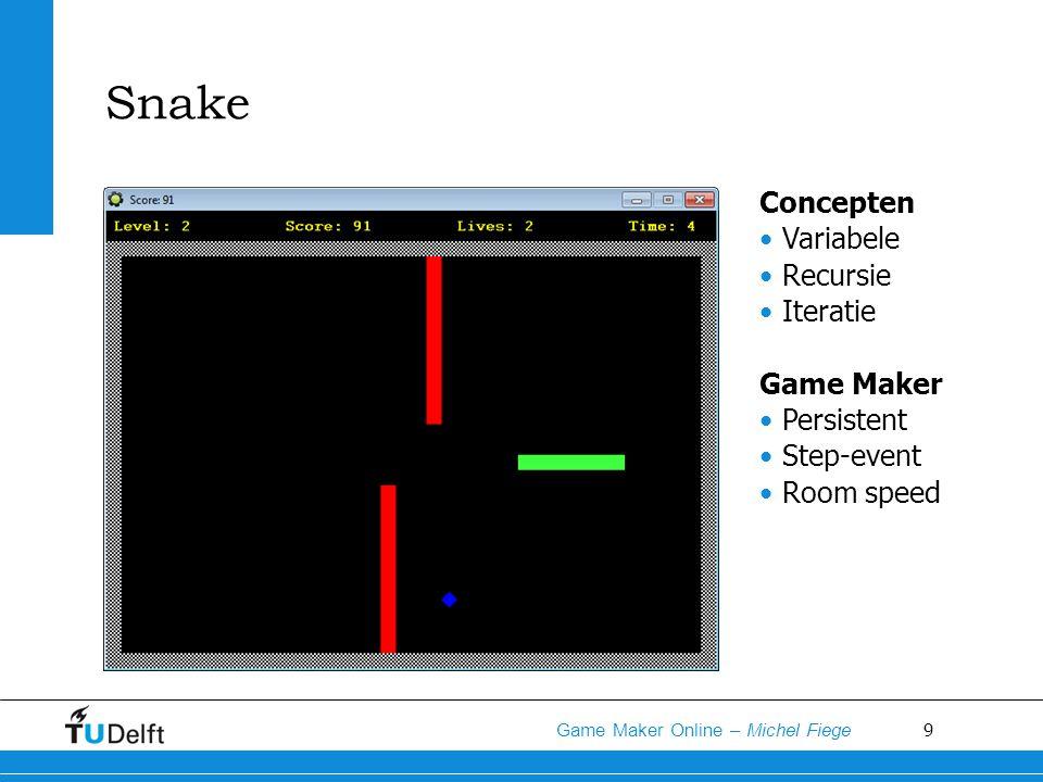 Snake Concepten Variabele Recursie Iteratie Game Maker Persistent
