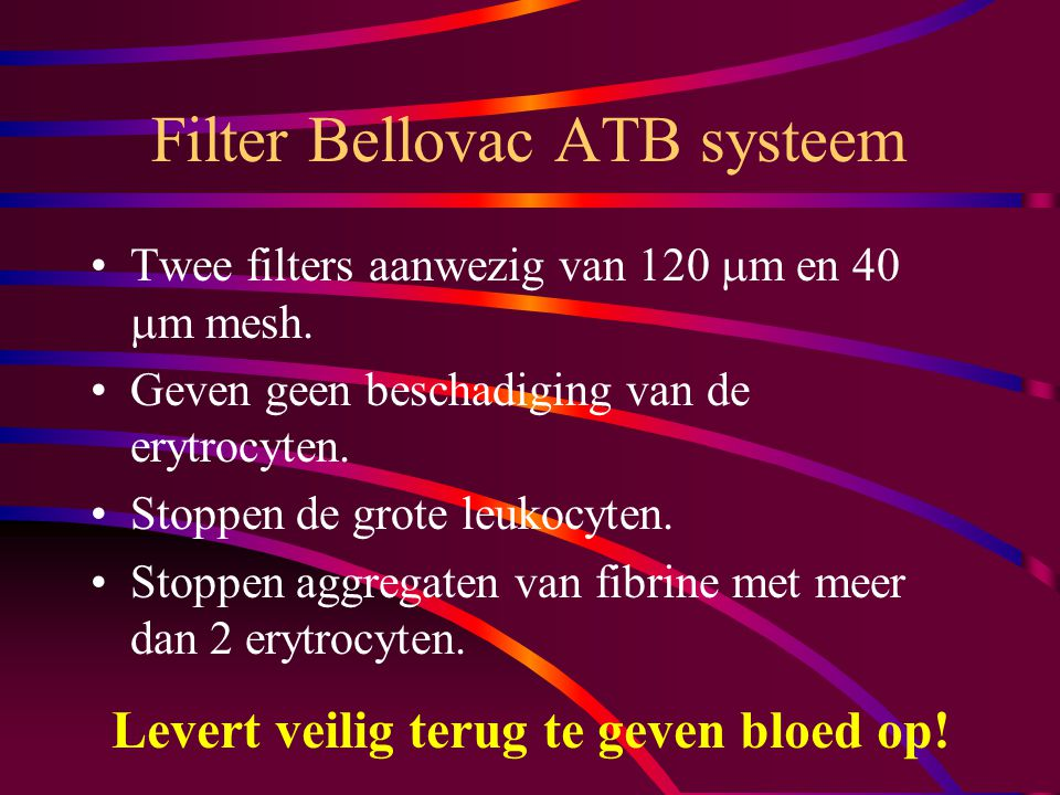 Filter Bellovac ATB systeem