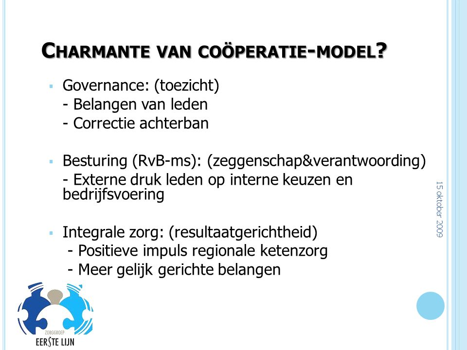 Charmante van coöperatie-model