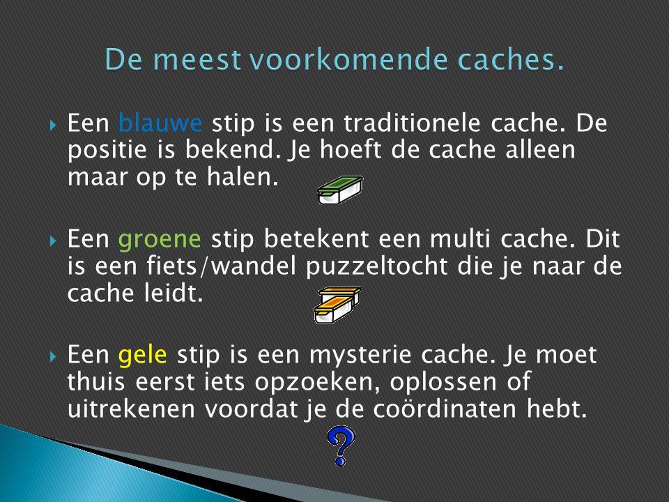 De meest voorkomende caches.