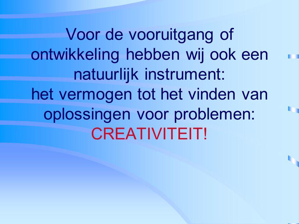 Voor de vooruitgang of ontwikkeling hebben wij ook een natuurlijk instrument: het vermogen tot het vinden van oplossingen voor problemen: CREATIVITEIT!