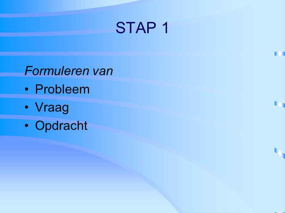 STAP 1 Formuleren van Probleem Vraag Opdracht