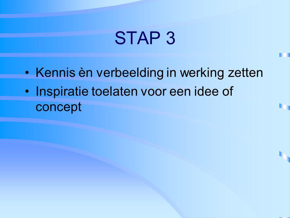 STAP 3 Kennis èn verbeelding in werking zetten