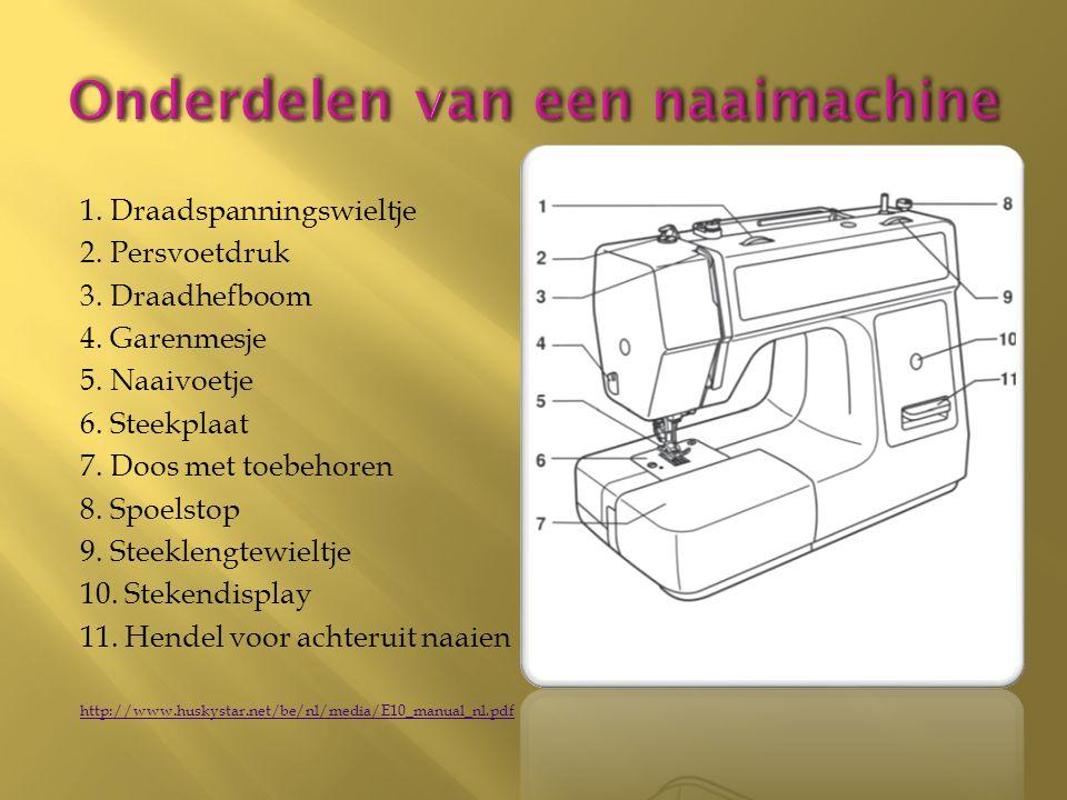 Onderdelen van een naaimachine