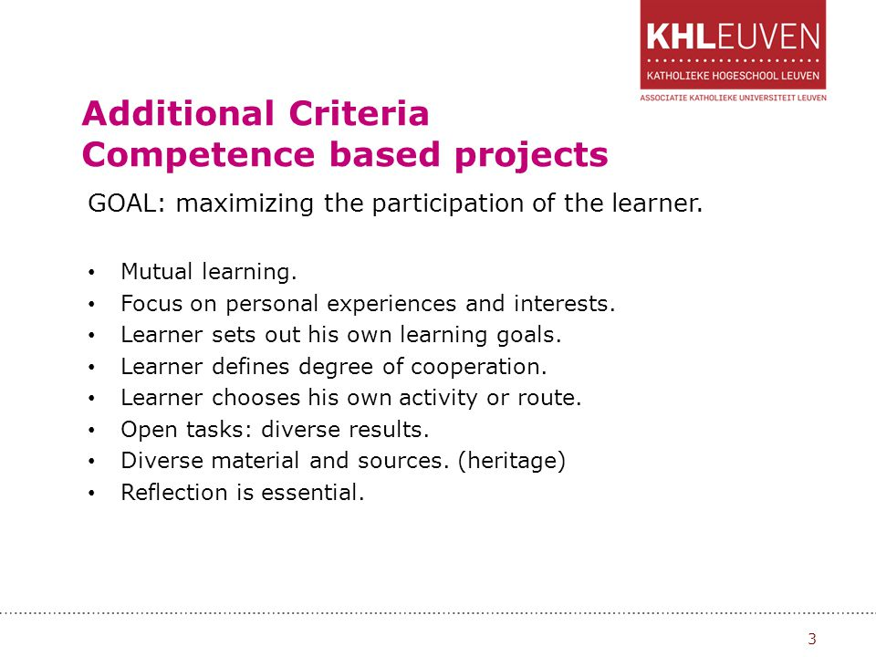 Additional Criteria Competence based projects