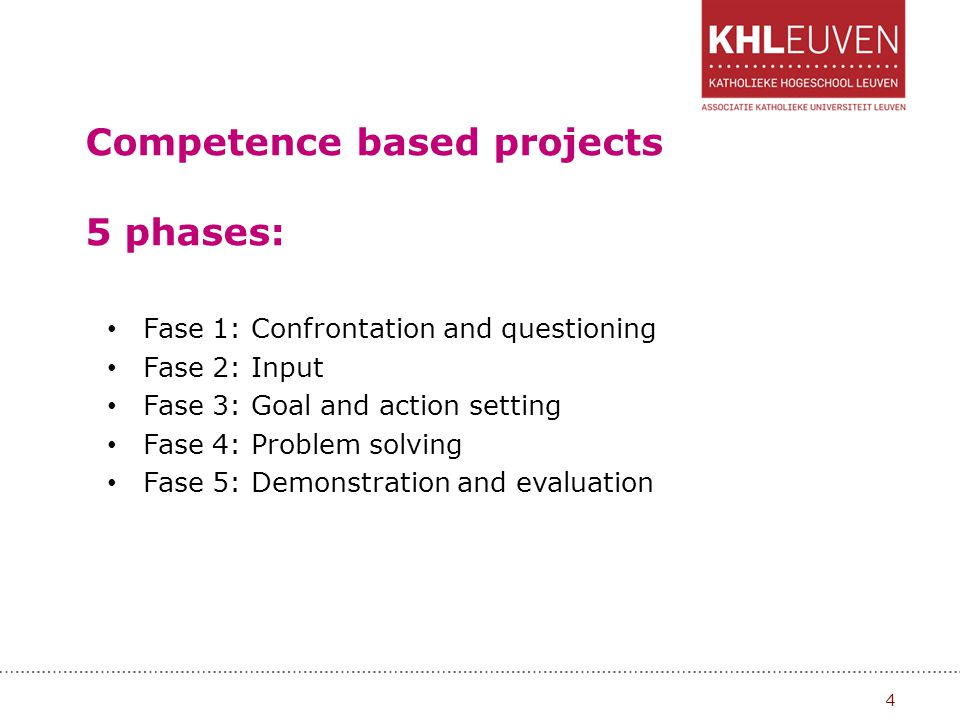 Competence based projects 5 phases: