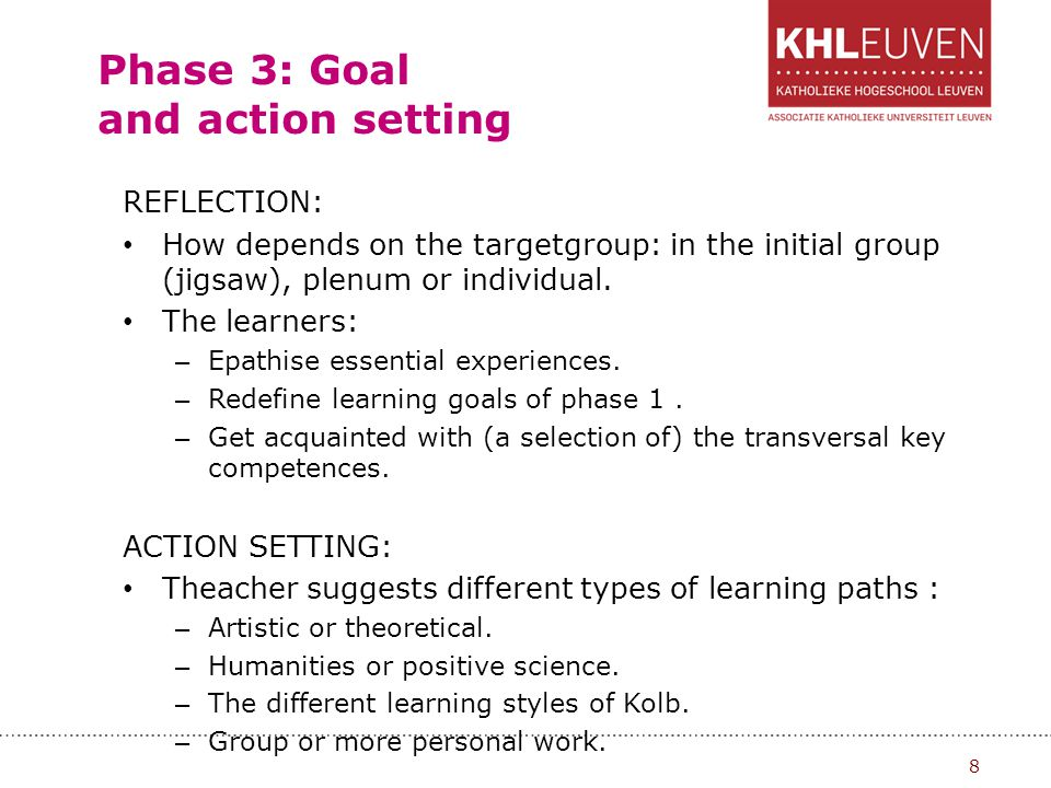 Phase 3: Goal and action setting