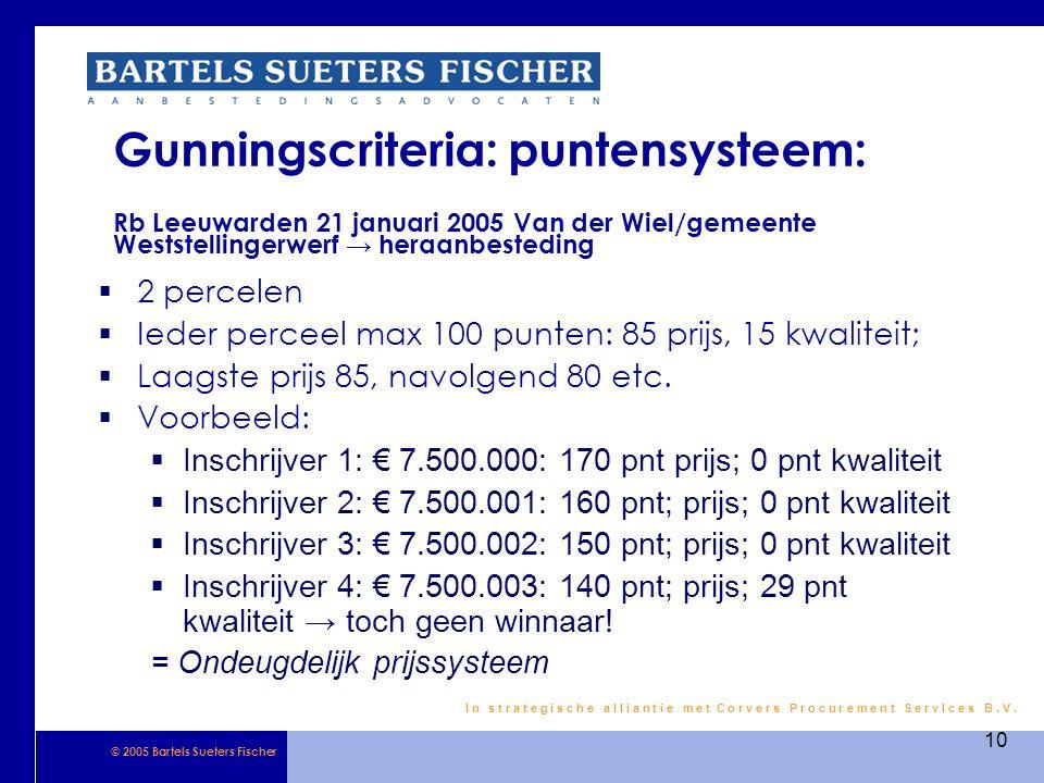 Gunningscriteria: puntensysteem: Rb Leeuwarden 21 januari 2005 Van der Wiel/gemeente Weststellingerwerf → heraanbesteding
