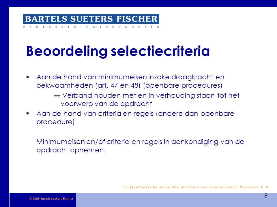 Beoordeling selectiecriteria