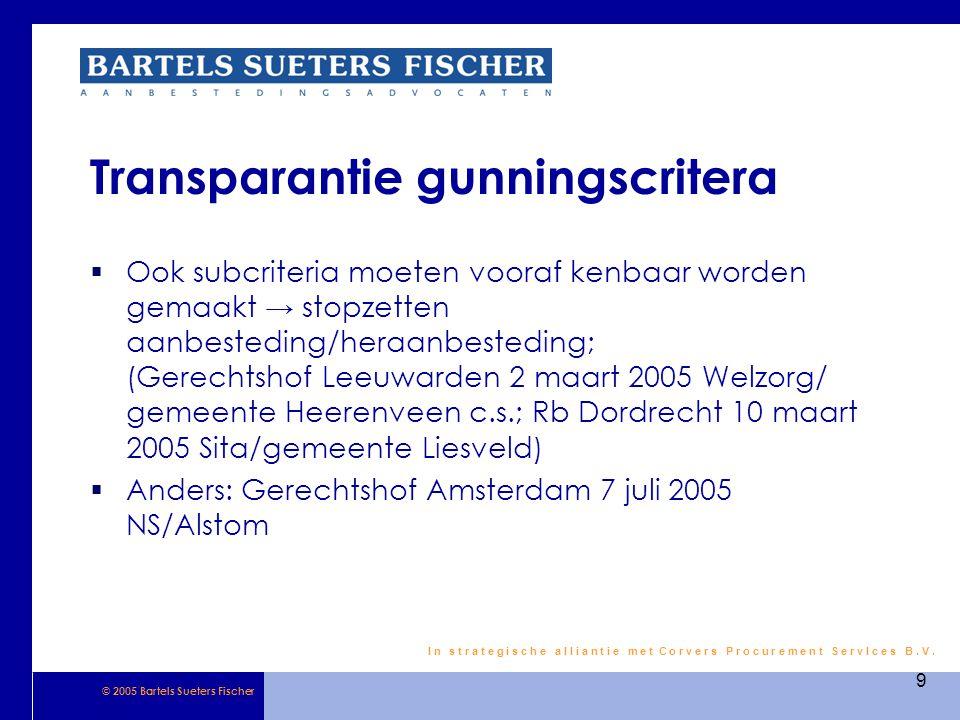 Transparantie gunningscritera