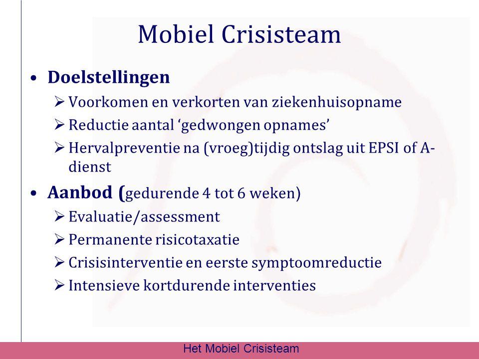 Mobiel Crisisteam Doelstellingen Aanbod (gedurende 4 tot 6 weken)