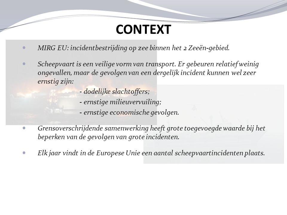 CONTEXT MIRG EU: incidentbestrijding op zee binnen het 2 Zeeën-gebied.